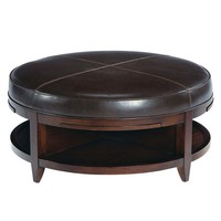 Park West Round Leather Cocktail Table