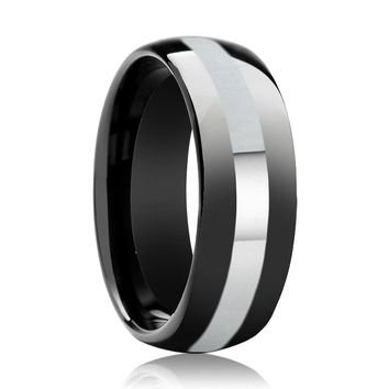 Aydins Tungsten Ring Black Shiny Polished Domed Wedding Band w/ Silver Stripe 8mm Tungsten Carbide Wedding Ring