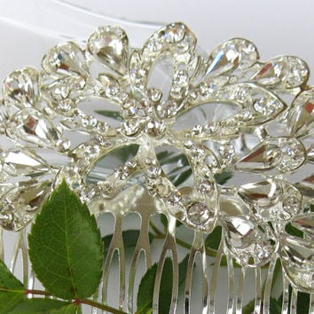 """Crystal Bridal Hair Comb """"Lonely Beauty"""", Wedding Hair Pieces, Rhinestone Combs, Wedding Hair Accessories, Bridal Headpieces"""