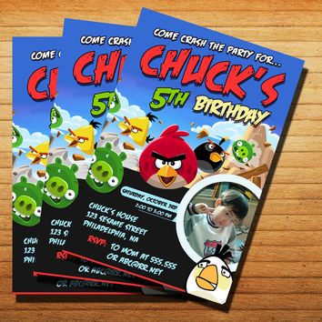 Angry Birds Birthday Invitation Cards 4x6, 5x7, Customized