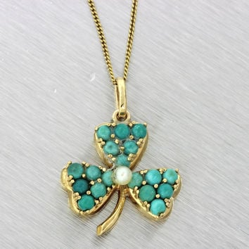 1890s Antique Victorian 14k Gold Pearl Turquoise Irish 3 Leaf Clover Necklace
