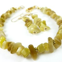 Green Yellow Golden Chrysoberyl Gemstone Beaded Bracelet Earring Set
