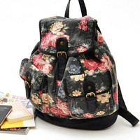 Cool Retro Black Flower Backpack Bag