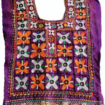 Indian vintage banjara neck yoke with hand embroidery. Colorful threads gives it awesome look. Banjara front dressing neck yoke.