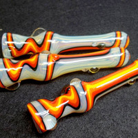 Glass Pipe, Fire and Color Changing, Wig Wag Glass Chillum, Hitter, Pipe, READY TO SHIP Paul Brehm, Hand Blown Pipes, Cgge Team,