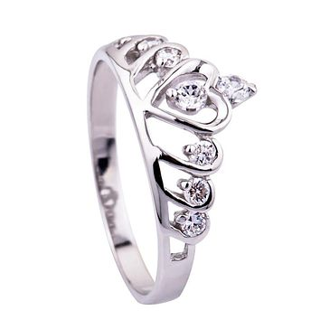 Fashon Fine Jewelry 925 Sterling Silver Crown Rings Heart Love Women Girls Queen Party Wedding Gift Diadem CHJ0047