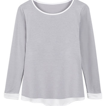 Gray Back Knot Chiffon Long Sleeve T-Shirt