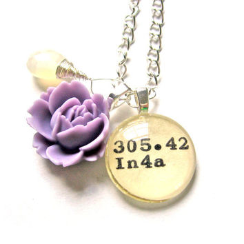 Large Moonstone AAA Grade and Lilac Rose Charm Sterling Silver Dewey Decimal Necklace