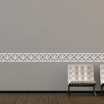 Moroccan Interlocking Circle Lattice Trellis Border Wall Decal Bedroom Nursery Wedding Vinyl Sticker Decor