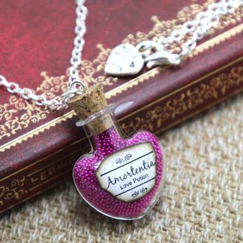12pcs/lot HP INSPIRED Jewelry  Amortentia Love Potion Necklace - Bottle Glass Vial  Magical Filter