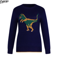 Women Navy Cartoon Dinosaur Cute Long Sleeve Knitted Sweater Casual Pullovers Autumn Fashion New Round Neck Brief Knitwear
