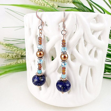 Lapis Lazuli Earrings, Blue, Royal Blue, Copper, Deep Blue, Aqua, Topaz, Pearls, Ocean Blue, Copper Componets, Gemstones, Crystal, OOAK
