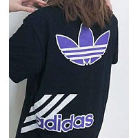 ADIDAS old suo purple T-shirt with short sleeves and back anticline N-AG-CLWM