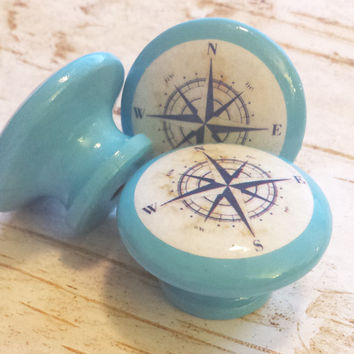 "Nautical Knobs, Island Blue With Navy Blue Antique Style Compass Design, 1.5"" Handmade Beach Drawer Pulls, Nautical Knob,  Made To Order"