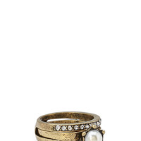 FOREVER 21 Burnished Faux Pearl Ring Set Burnished Gold