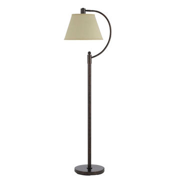 Cal Lighting BO-2449FL-RU Kinder Rust Metal Arc Floor Lamp with Burlap Shade