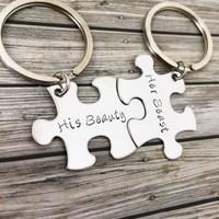 Beauty and the Beast, Couples Keychain, Puzzle Pieces , Anniversary Gift