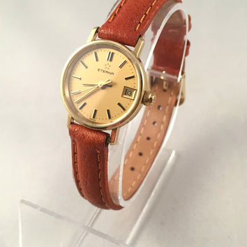 "Solid Gold 14K Women's wristwatch ""ETERNA"". Casual and elegant wristwatch made by famous Swiss brand ""ETERNA""."