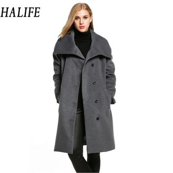 HALIFE Women Gray 2017 Winter Coat Shawl Collar Long Sleeve Plus Size Warm Wool Blend Coat With Belt Manteau Femme Hiver  910