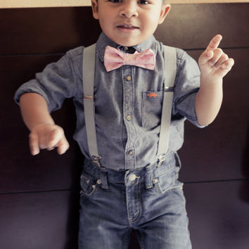 d794371850e6 Boys Easter Bow Tie, Toddler Bow Tie and Suspenders, Easter Bow Tie, Baby