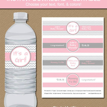 INSTANT Chevron Water Bottle Labels - EDITABLE in Adobe Reader - DIY Printable Water Wrappers - Pink Gray - Baby Shower Bridal Wedding