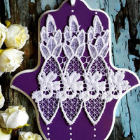 Nursery hamsa wall hanging - jewish baby gift - purple &  white lace classic wall hanging hamsa