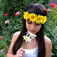 Flower Headband - Daisy Headband - Yellow Daisies - Hairband - Flower Crown - Festivals - Raves - Fashion Trends