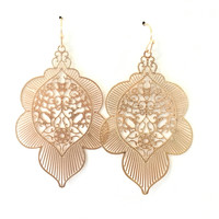 Morning Light Laser Cut Earrings In Gold