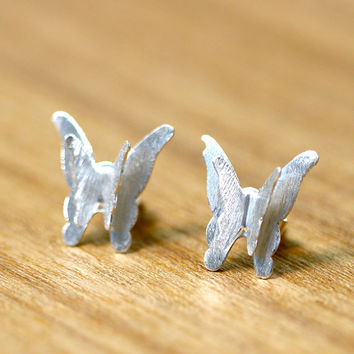 0009_SE_1,Butterfly Earrings,Silver Stud,Stud Earrings,Silver Earring,Matt Silver,Bridesmaid earring,Birthday Gift,Bridal earrings