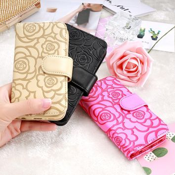 KISSCASE Stand Wallet Case For iPhone 7 6 6S Plus 5 5s SE Camellia Flower Flip Leather Cover Cases For iPhone 7 7 Plus 6 6S Plus