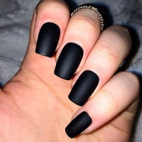 Fake nails, matte nails, black matte, false nails