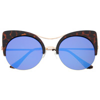 Oversize Flat Lens Round Cat Eye Mirror Lens Sunglasses A175