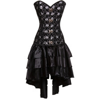 Latex Burlesque Clubwear Women Skull Pattern Black Overbust Push Up Steel Boned Steampunk Corset Dress Sexy Gothic Clothing