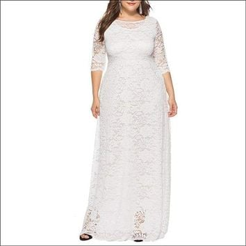 Hollow Out 1/2 Length Sleeve Lace Pocket Party Dress - White 6xl