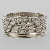 Women's Glitz Bangle Bracelet Setin Silver by Daytrip.