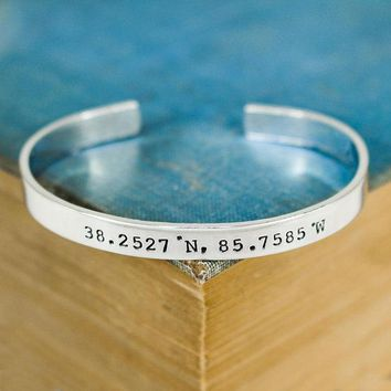 Custom Coordinates Bracelet - Personalized Bracelet - Couples Bracelet - Long Distance Relationship - Anniversary Gift - Adjustable Ring