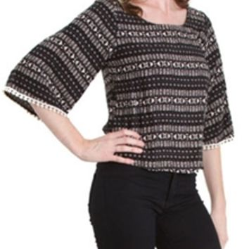 Mind Code Aztec Top with Bell Sleeves T71081