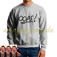 Louis Tomlinson Tattoo Sweatshirt Louis Tomlinson Oops Black Grey and White Color Unisex Sweatshirts