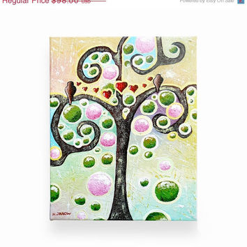Original Acrylic Painting on Canvas - Love Birds in a Tree of Life - Abstract Landscape Valentine's Day Whimsical Folk Art 8x10x1.5