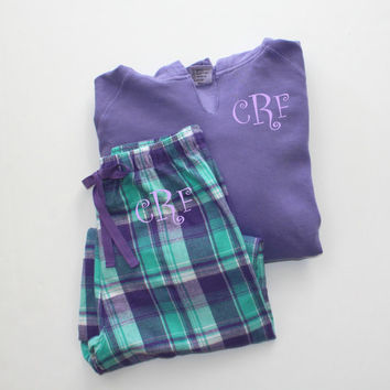 Monogrammed Pajama Set Purple and Green Plaid Flannel Pants with Comfort Color Violet Purple Hoodie Christmas Gift Set