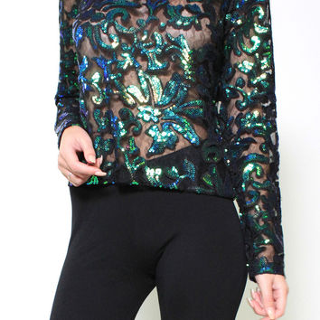 OWN THE NIGHT SEQUIN TOP (BLACK & GREEN)