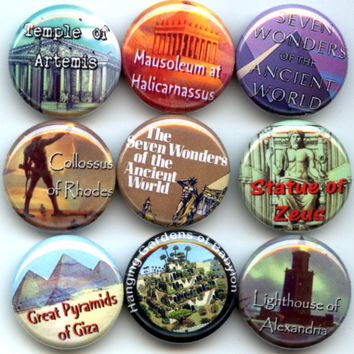 "Seven WONDERS of the Ancient World 9 Pinback 1"" Buttons Badges Pins"