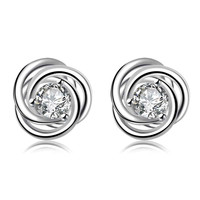 silver 925 earing Inlaid crystal rotation stud pendientes bear bijoux MP