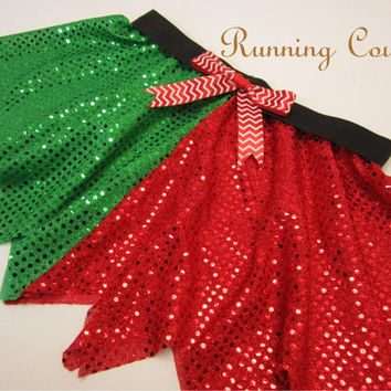 Elf inspired skirt with Scalet chevron ribbon Sparkle Running Misses Circle skirt
