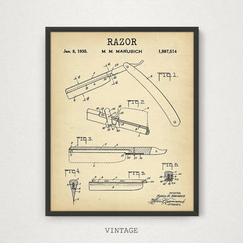 Barber Razor Patent Printable, Barber Shop Decor, Antique Razor Printable, Hairdresser Beauty Technician, Barber Shop Wall Art Barber Poster