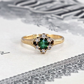 Victorian Green Tourmaline & Diamond Halo Ring, Antique 10k Daisy Ring, Love Token Promise, Alternative Engagement Ring, Circa 1890