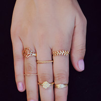 Lovely Leaves Ring Set