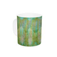 "Michelle Drew ""Vintage Ikat Green Gold"" Gold Green Ceramic Coffee Mug"