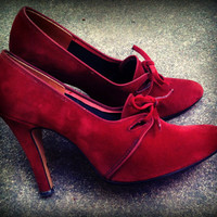 Vintage 1940's Red Velvet 4 Stiletto Heels by TrueBlueDryGoods