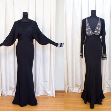 1930's Dress // Black Bat Wing Morticia Evening Gown with Low Back and Exquisite Beading